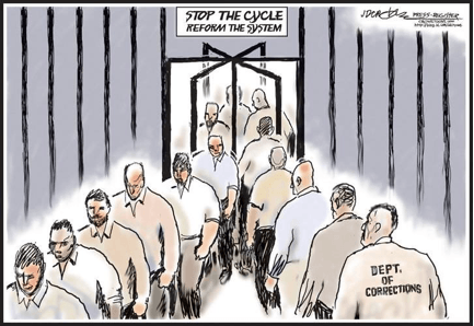 Cartoon of people walking in and out of rehab