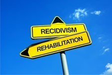 street signs - rehabilition pointing left, recidivism pointing straight