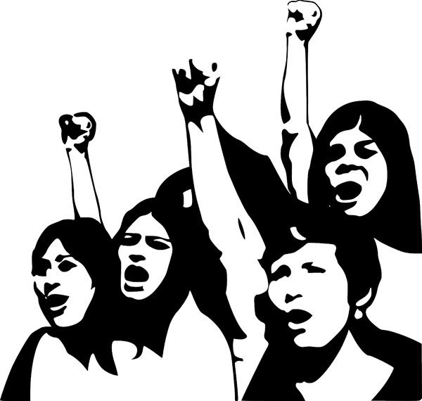Silhouette drawing of women with their fists raised in a classic power display