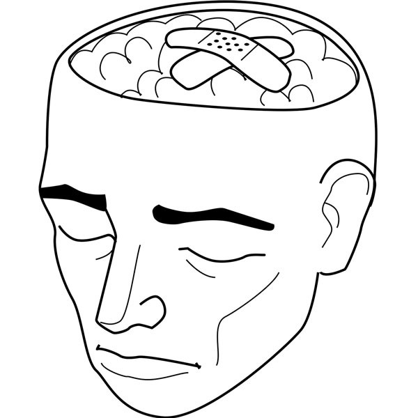 Drawing of head with the brain exposed and a bandage on the brain